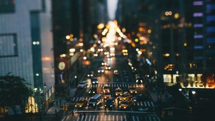 Cityscapes lights tilt-shift wallpaper