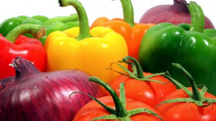 Close-up onions peppers tomatoes vegetables wallpaper