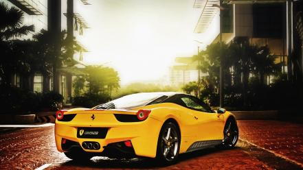 Ferrari 458 italia yellow cars upscaled wallpaper