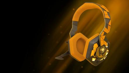 Headphones orange glowing 3d deus ex: human revolution Wallpaper