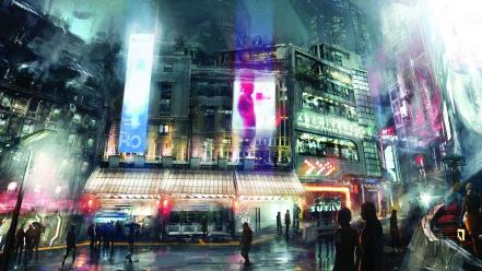 Landscapes fantasy art cyberpunk wallpaper
