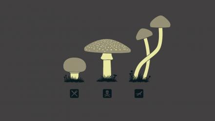 Minimalistic funny mushrooms grey background wallpaper