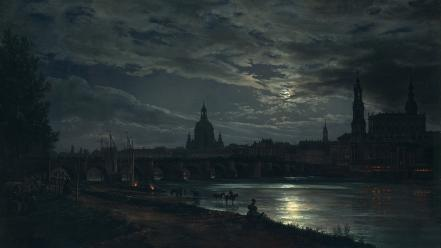 Moonlight artwork dresden lakeside johan christian dahl wallpaper