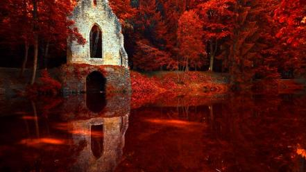 Nature autumn red france lakes wallpaper