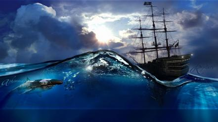 Ships fantasy art split-view wallpaper