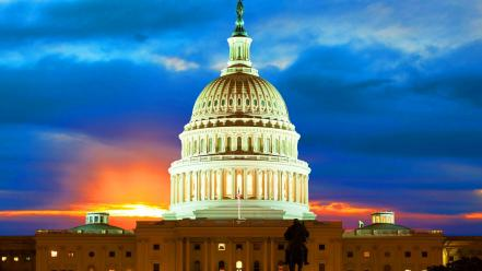 Sunset clouds cityscapes usa washington dc capitol building wallpaper