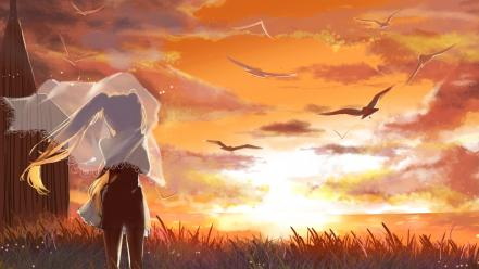 Sunset vocaloid hatsune miku birds grass twintails skies wallpaper