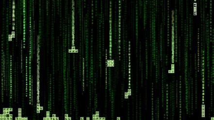 Tetris the matrix code glitch wallpaper