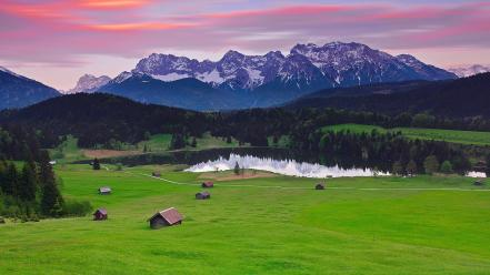 Alps bavaria germany forests grass Wallpaper