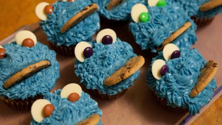 Blue cookies cupcakes cookie monster icing wallpaper
