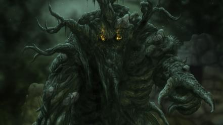Horror trees monsters rocks fantasy art artwork wallpaper