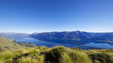 Mountains landscapes nature hills new zealand lakes skyscapes wallpaper