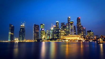 Night lights singapore skyscrapers malaysia metropolis state wallpaper