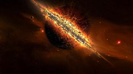 Outer space stars planets digital art explosion Wallpaper
