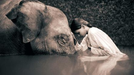 Sepia elephants children gregory colbert ashes and snow Wallpaper
