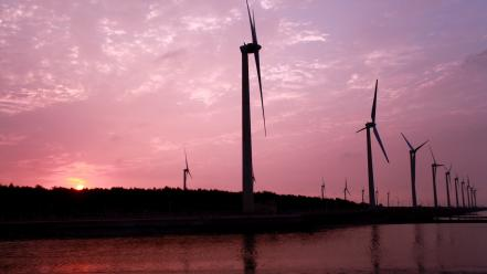 Sunset landscapes wind turbines Wallpaper