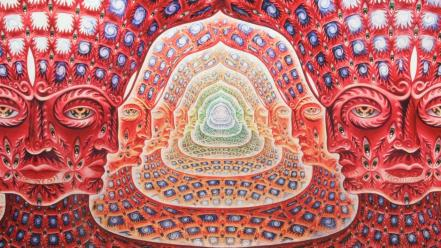 Tool psychedelic artwork alex grey faces panoramic wallpaper