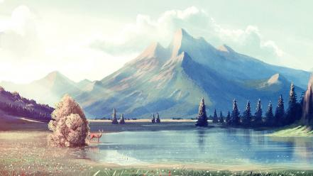 Water mountains landscapes nature artwork wallpaper