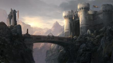 Castles bridges artwork medieval wallpaper