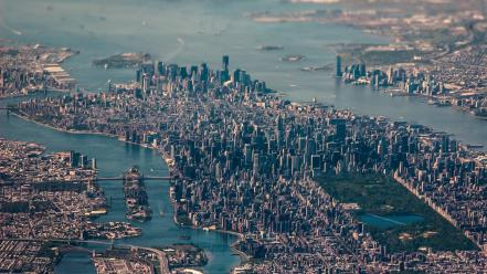 Cityscapes new york city tilt-shift aerial photography wallpaper
