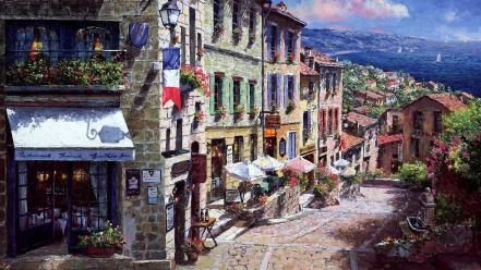 Paintings streets buildings artwork skyscapes wallpaper