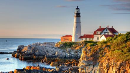 Portland landscapes lighthouses natural scenery nature wallpaper