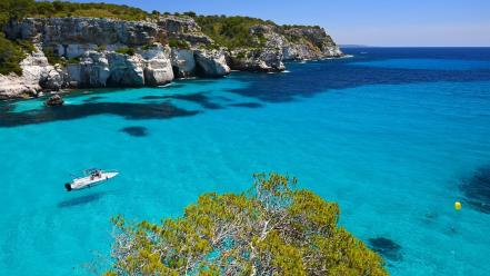 Balearic islands spain archipelago cliffs crystalline Wallpaper