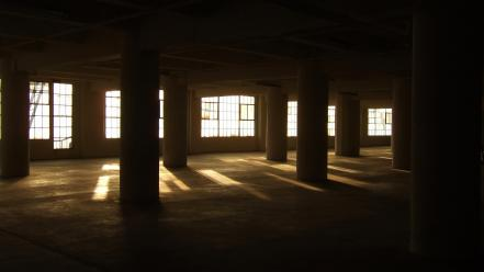 Buildings interior sunlight pillars wallpaper