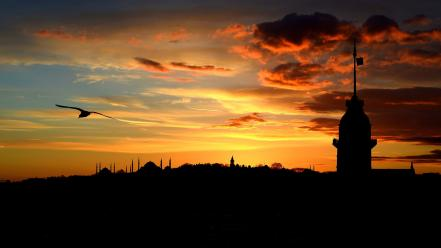 Cityscapes silhouettes istanbul wallpaper