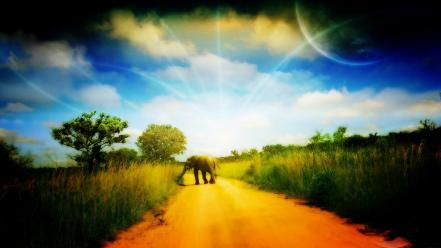 Clouds planets roads elephants wallpaper
