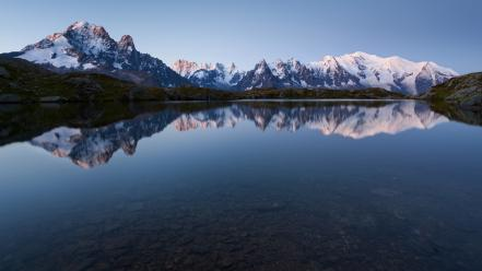 Mountains landscapes nature france lakes reflections Wallpaper