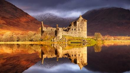 Mountains landscapes nature scotland lakes kilchurn castle reflections wallpaper