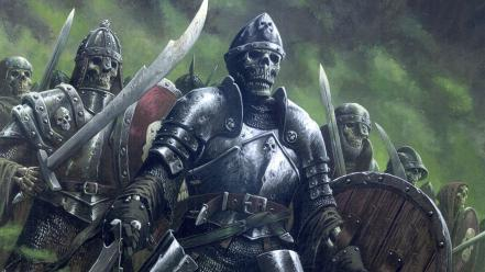 Army undead fantasy art armor skeletons artwork warriors Wallpaper