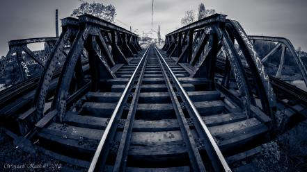 Blue trains bridges urban railroad tracks milky wallpaper