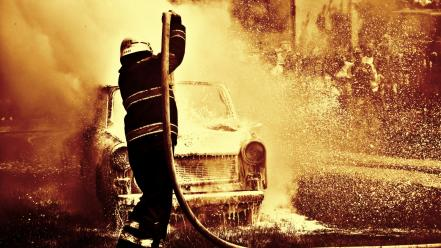 Cars fire filter action trabant east germany fireman wallpaper