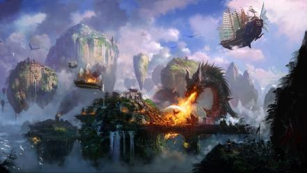 Dragons ships fantasy art town islands temples artwork wallpaper