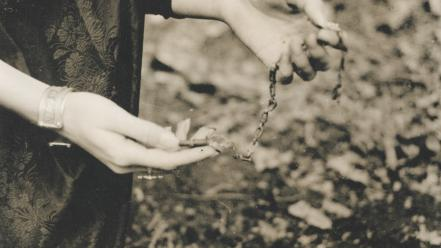 Hands monochrome chains ellen rogers wallpaper