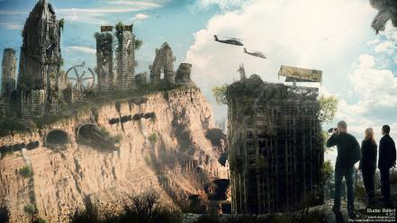 Trains buildings destroyed skies budai bálint survivor Wallpaper