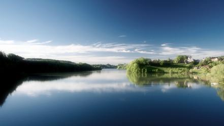 Water blue landscapes nature morning villages sky wallpaper