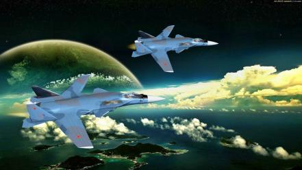 Aircraft air force aviation fighters futuristic Wallpaper