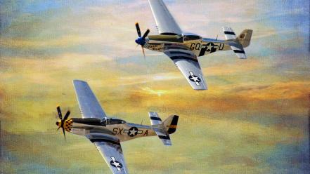 Aircraft twins p-51 p51 mustang wallpaper