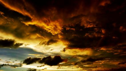 Clouds nature skies storm sunset wallpaper