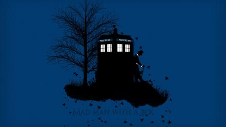 Doctor who tardis artwork blue background leaves wallpaper