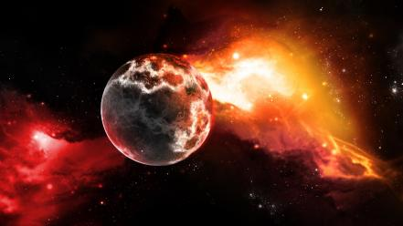 Outer space red stars planets science fiction sci-fi wallpaper
