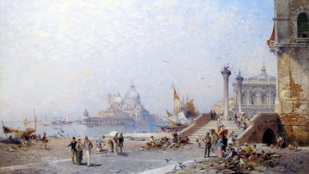 Paintings cityscapes venice italy artwork franz richard unterberger wallpaper