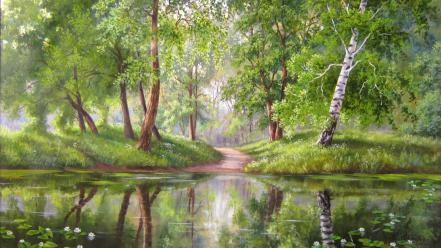 Paintings trees forests rivers Wallpaper