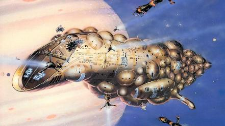 Peter elson artwork futuristic outer space paintings wallpaper