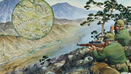 Soldiers military artwork sniper wallpaper