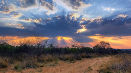 Sunset clouds nature plateau rays wild near wallpaper