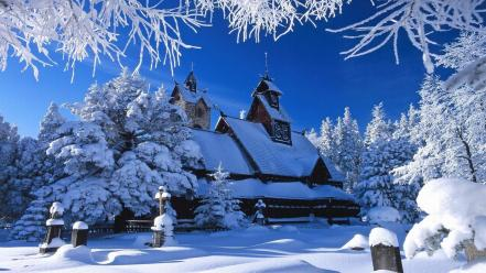 White cold houses seasons buildings church nordic Wallpaper